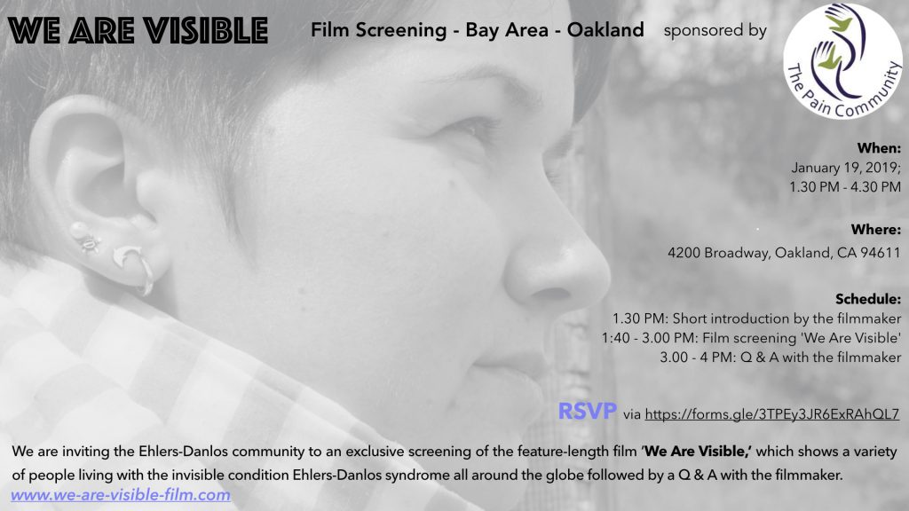 Black and white shot of a woman with short brown hair looking into the distance. Text: We Are Visible, Film Screening, Oakland.